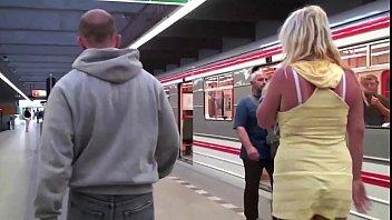 groping cumming fucking public train Oriental lady sucking two hard cocks